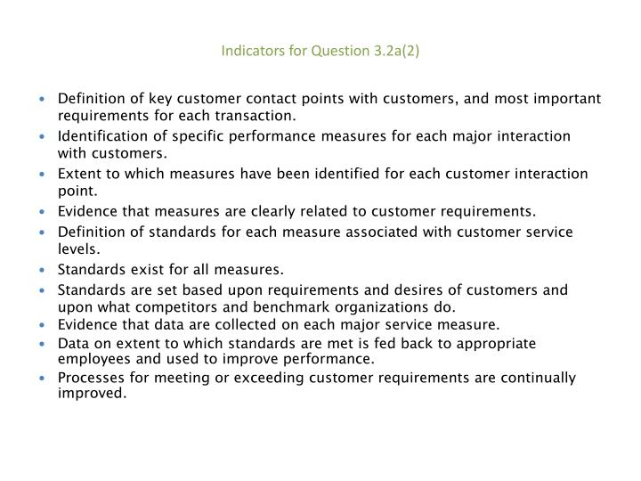 Indicators for Question 3.2a(2)