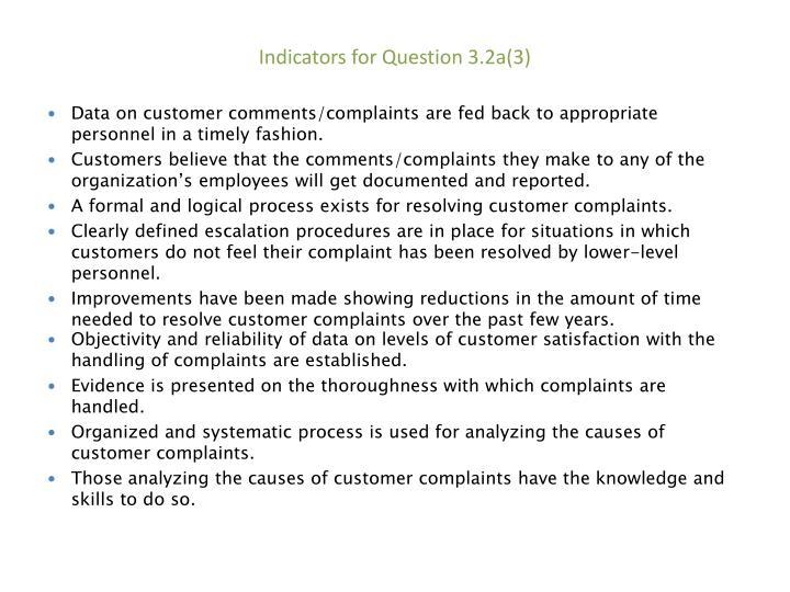Indicators for Question 3.2a(3)