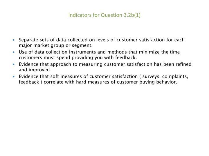 Indicators for Question 3.2b(1)