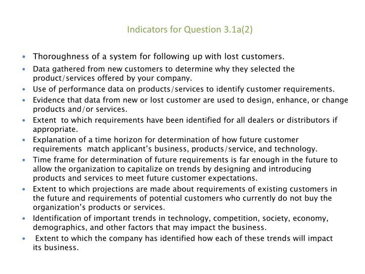 Indicators for Question
