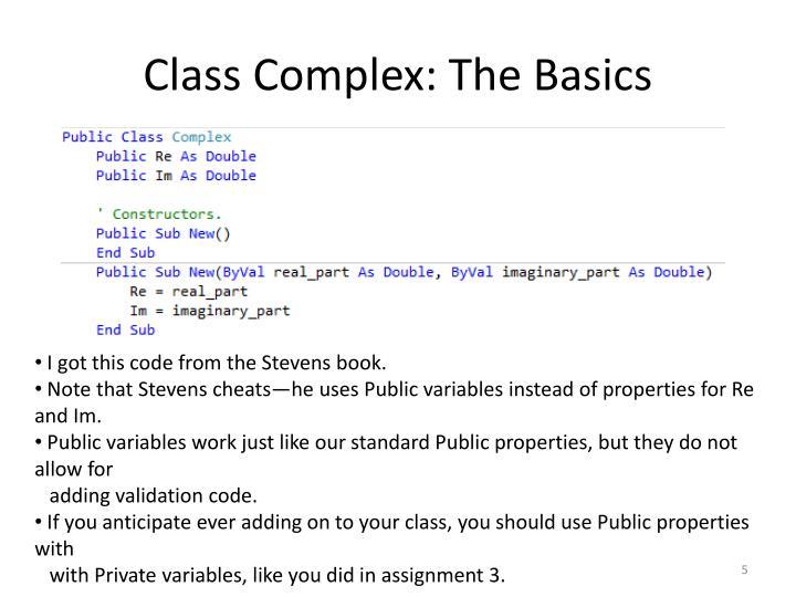 Class Complex: The Basics