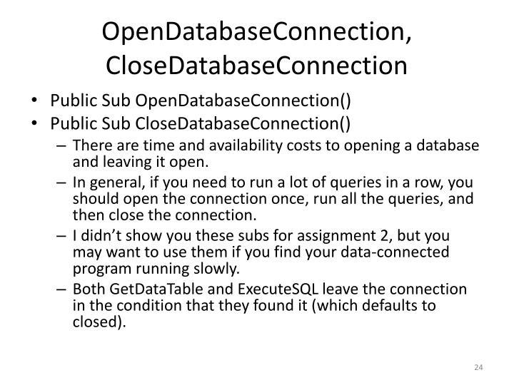 OpenDatabaseConnection