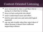 content oriented listening