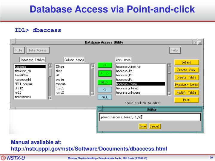 Database Access via Point-and-click