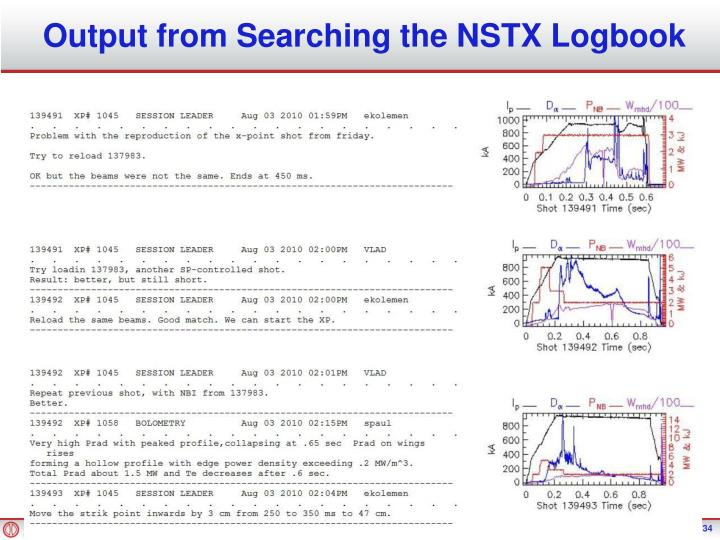 Output from Searching the NSTX Logbook