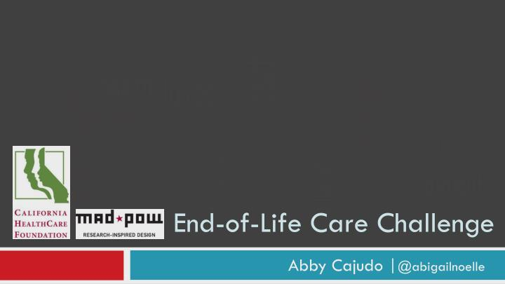 end of life care challenge n.