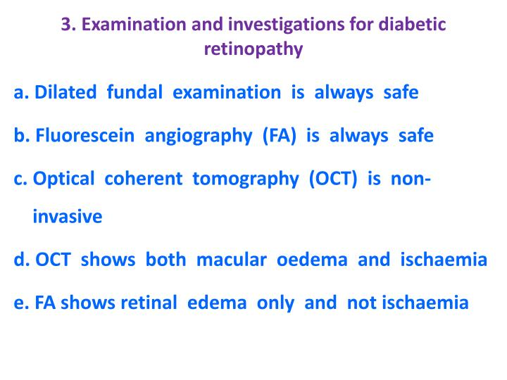 3. Examination and investigations for diabetic retinopathy