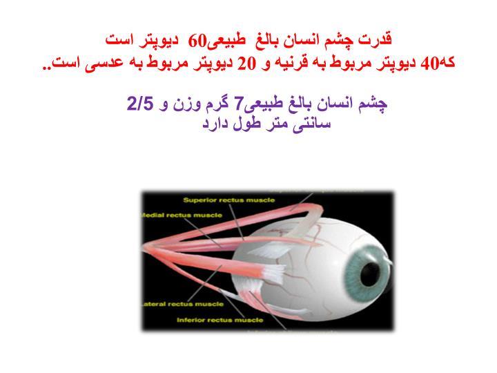 قدرت چشم انسان بالغ  طبیعی60  دیوپتر است