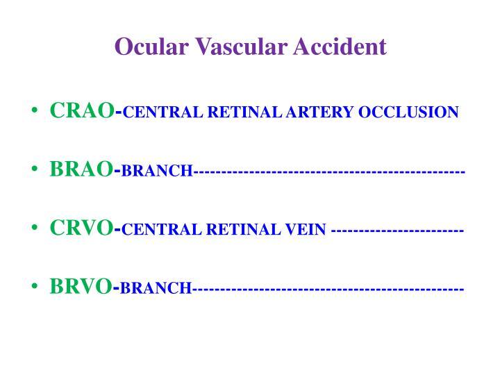 Ocular Vascular Accident