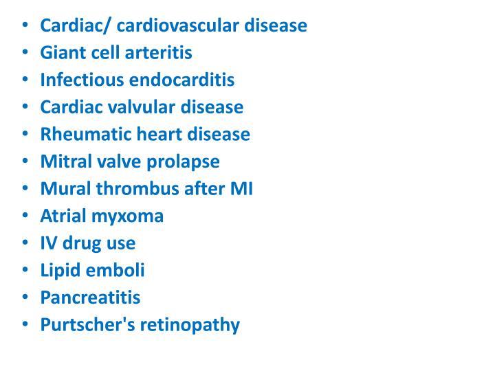 Cardiac/ cardiovascular disease