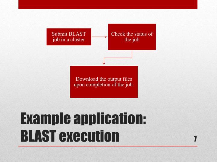 Example application: BLAST execution