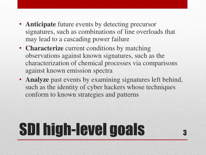 Sdi high level goals