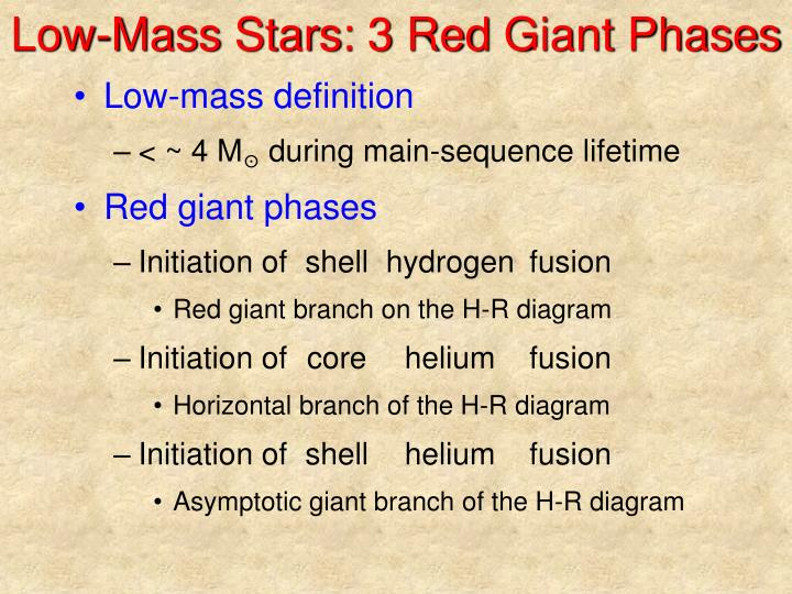 Low mass stars 3 red giant phases