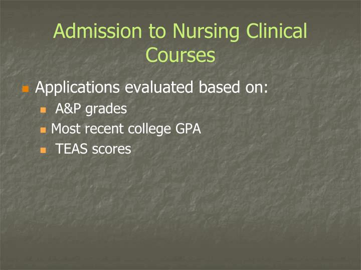 Admission to Nursing Clinical Courses