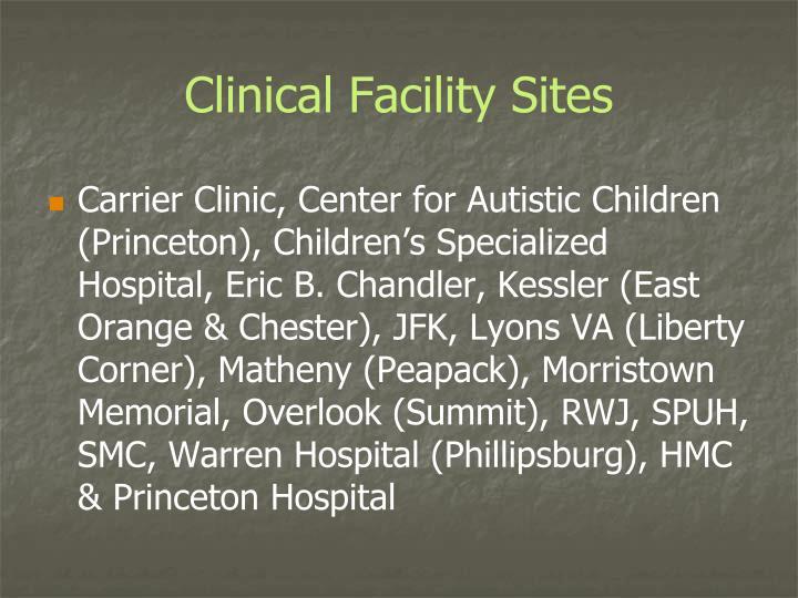 Clinical Facility Sites