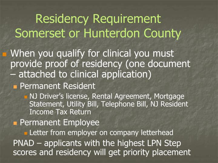 Residency Requirement