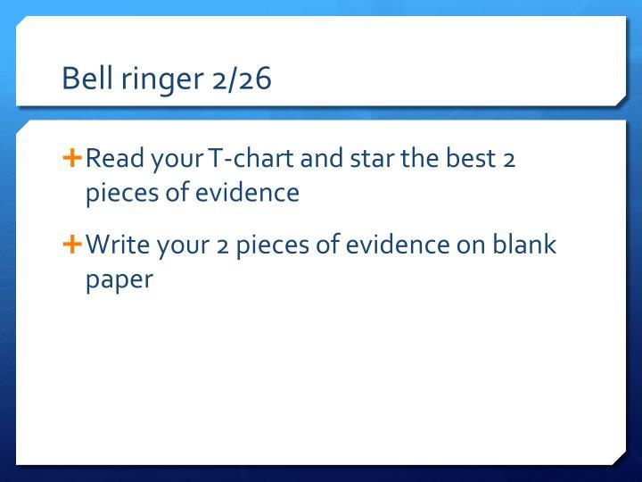 Bell ringer 2/26