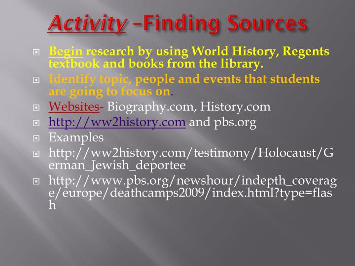 Activity finding sources