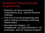 cronbach s theory of social programming