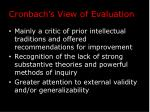 cronbach s view of evaluation