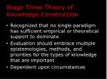 stage three theory of knowledge construction