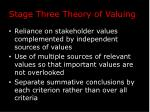 stage three theory of valuing