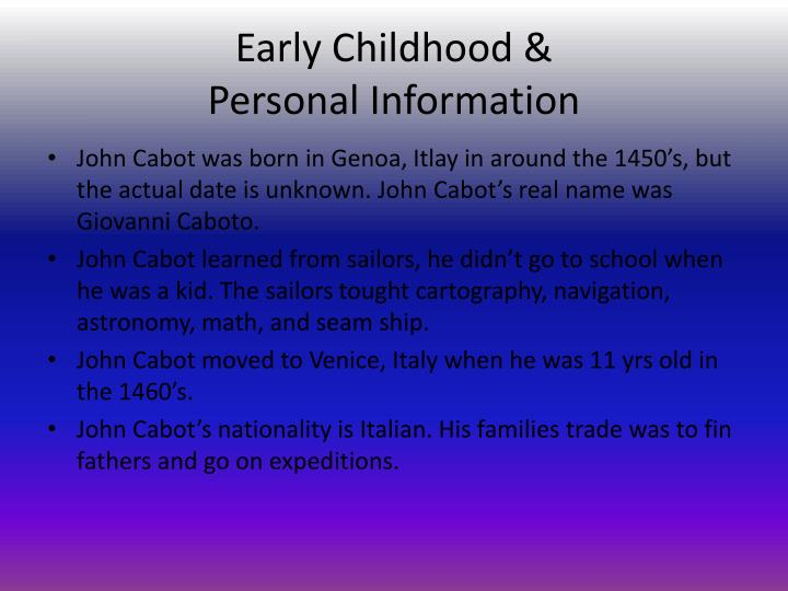 Early childhood personal information