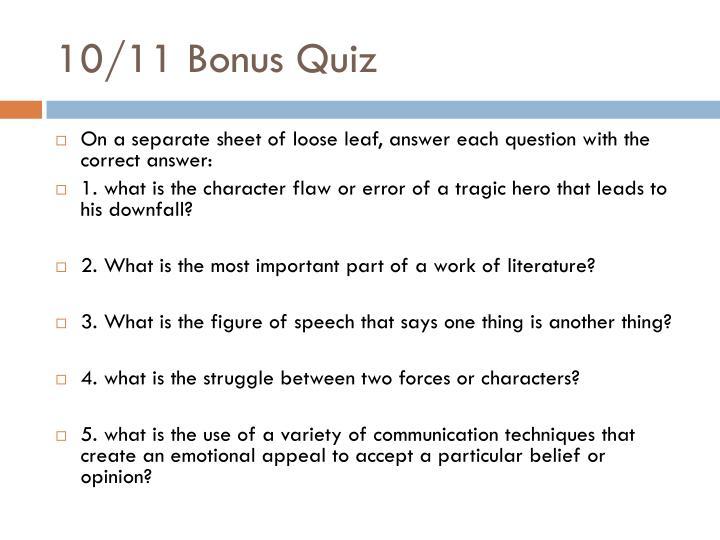 10/11 Bonus Quiz