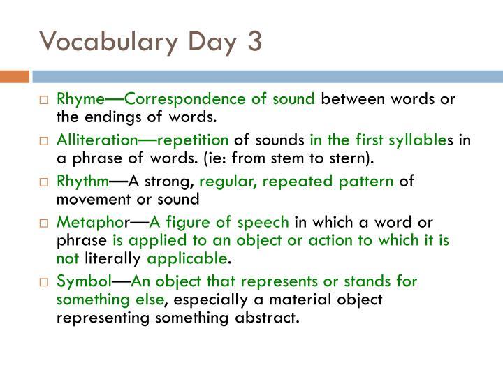 Vocabulary day 3