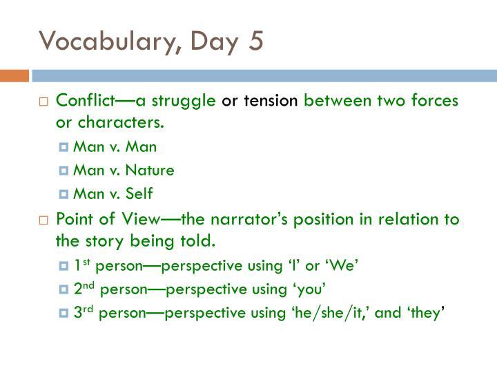 Vocabulary, Day 5