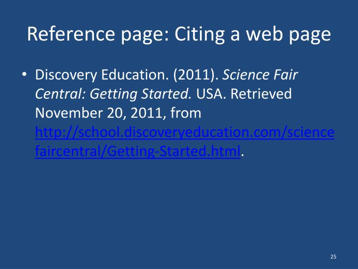 Reference page: Citing a web page