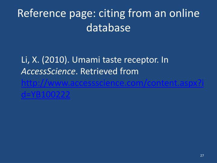 Reference page: citing from an online database