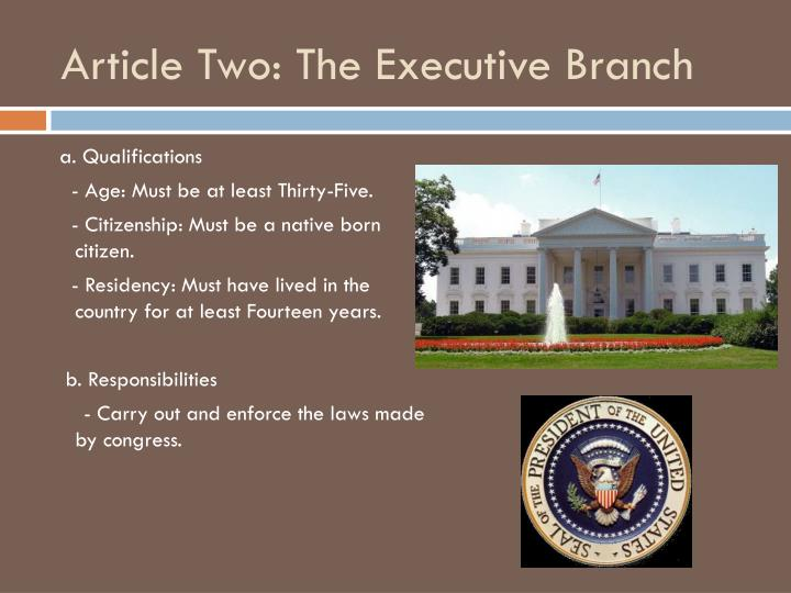 Article two the executive branch