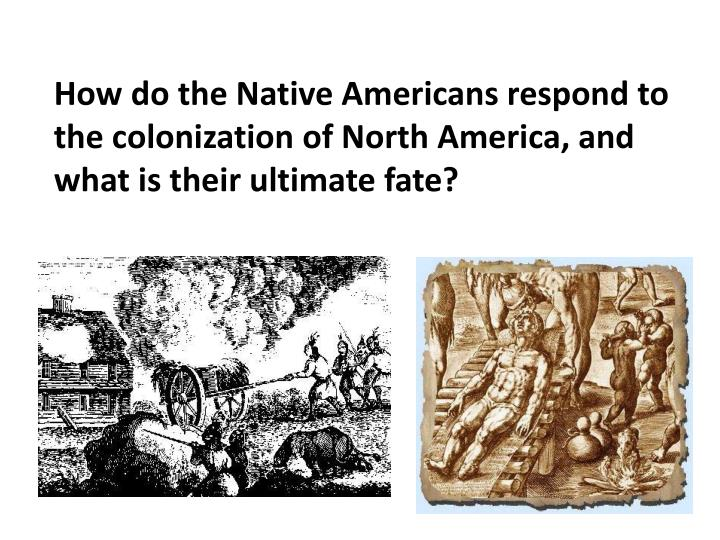 How do the Native Americans respond to the colonization of North America, and what is their ultimate fate?