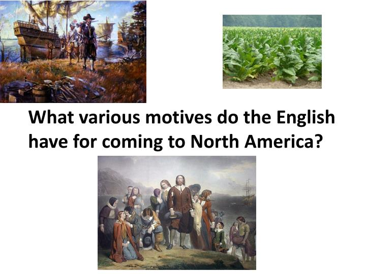 What various motives do the English have for coming to North America?