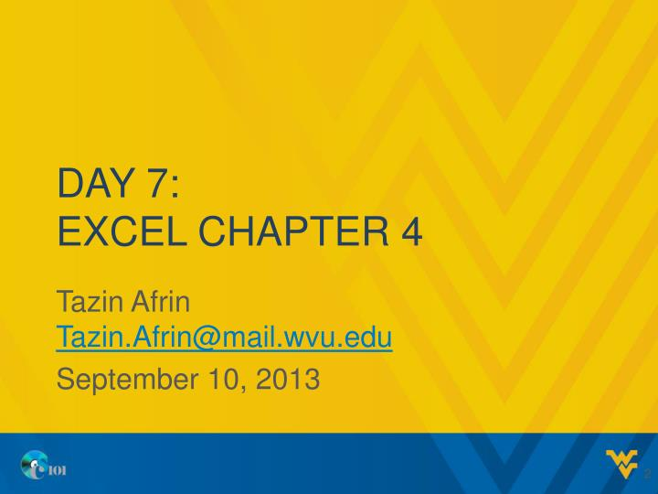 Day 7 excel chapter 4