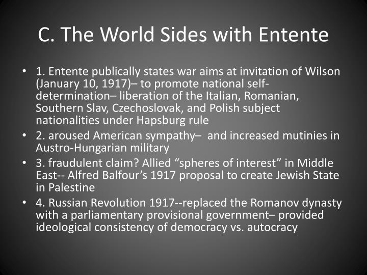 C. The World Sides with Entente