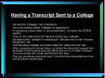 having a transcript sent to a college