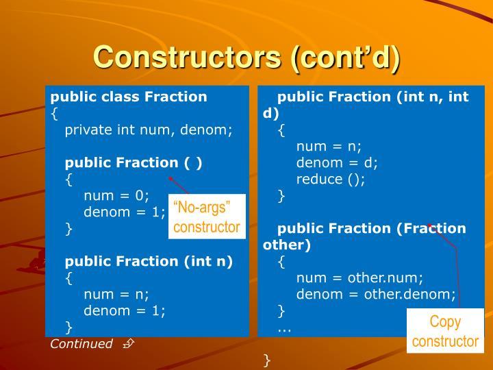 Constructors (cont'd)