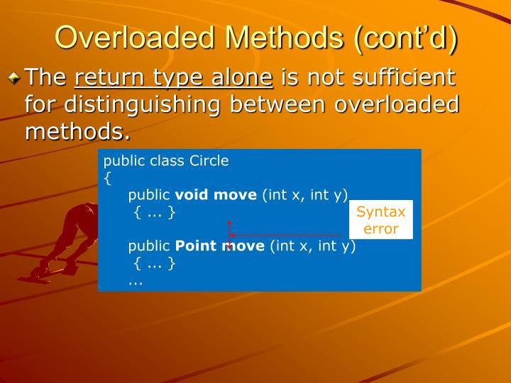 Overloaded Methods (cont'd)