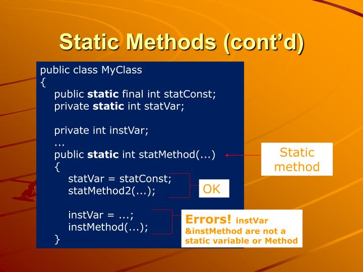 Static Methods (cont'd)