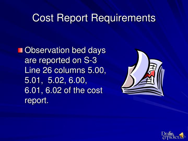 Cost Report Requirements