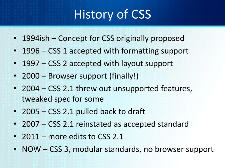 History of css