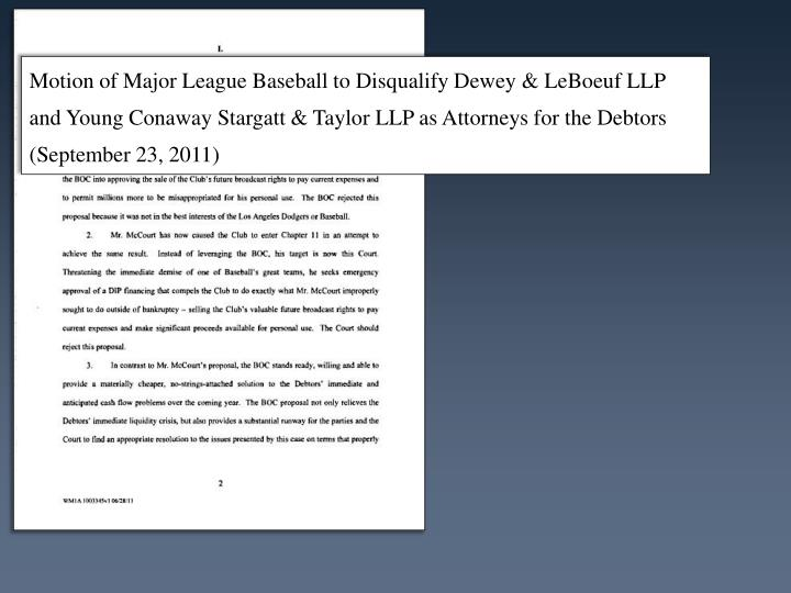Motion of Major League Baseball to Disqualify Dewey &