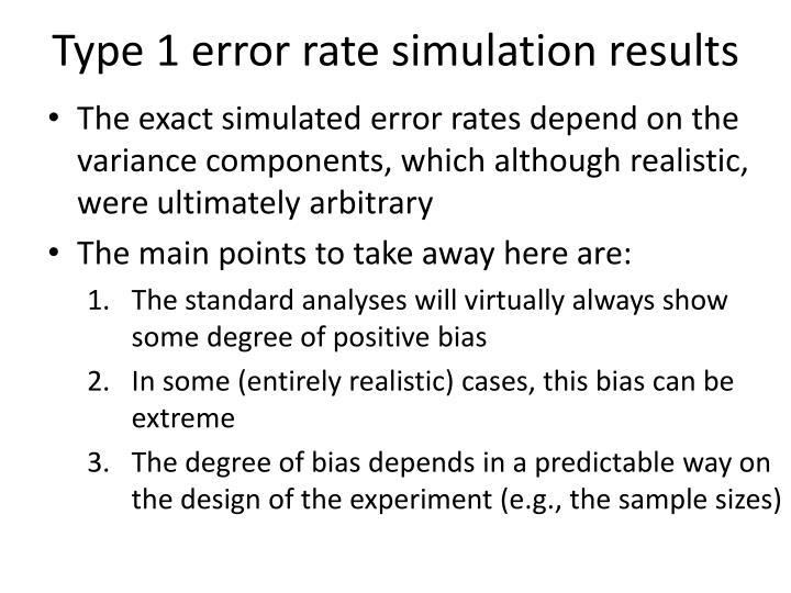 Type 1 error rate simulation results