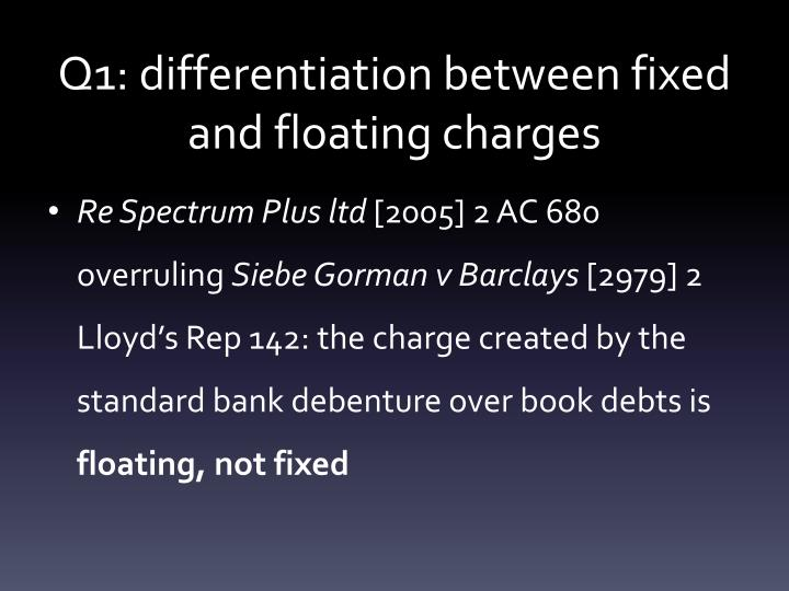 Q1: differentiation between fixed and floating charges