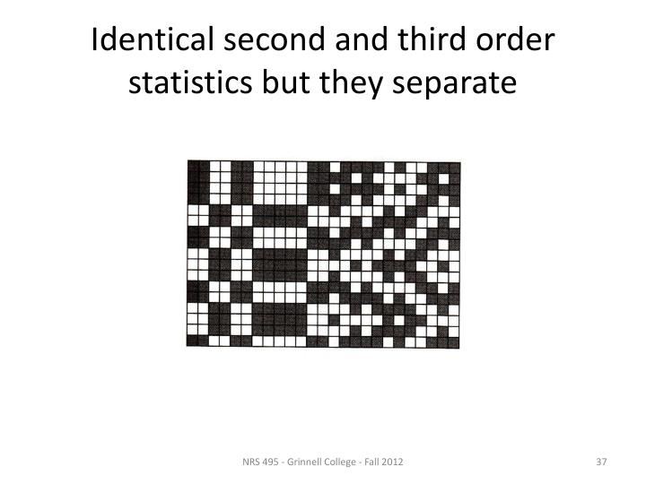 Identical second and third order statistics but they separate