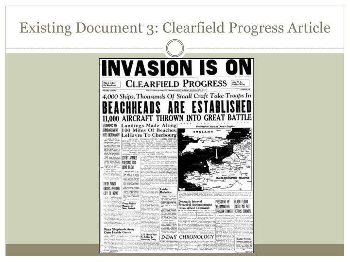 Existing Document 3: Clearfield Progress Article