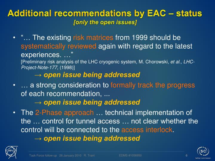 Additional recommendations by EAC – status