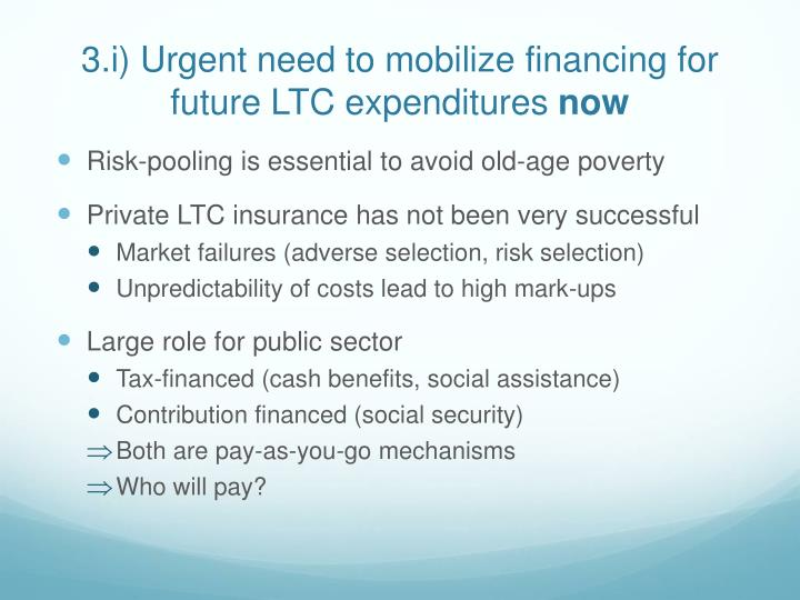 3.i) Urgent need to mobilize financing for future LTC expenditures